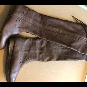 Brown leather over the knee boot